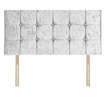 CRUSHED VELVET CUBES HEADBOARD WITH BUTTON