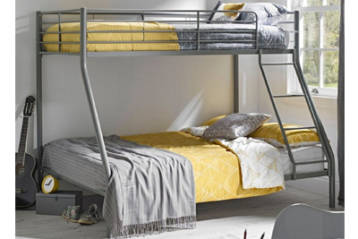 SILVER COLOURED METAL KID'S BUNK BED