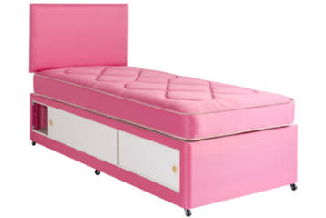 PRINCES PINK COTTON SLIDE STORAGE DIVAN BED SET