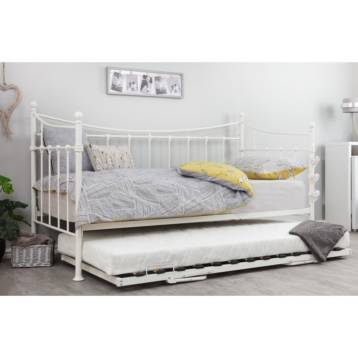 ARK METAL DAY BEDS IN WHITE TRUNDLE BED