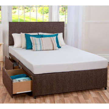 SLEEP PLUS GEL HYBRID MATTRESS WITH Divan Bed In Chenille And Matching Headboard