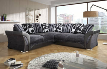 SHANNON DOUBLE CORNER SET BLACK/GREY