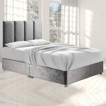 HARTLAND DIVAN BED IN SILVER CRUSHED VELVET