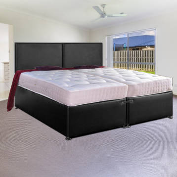 ZIP AND LINK LEATHER DIVAN BED SET MEMORY WITH HEADBOARDS