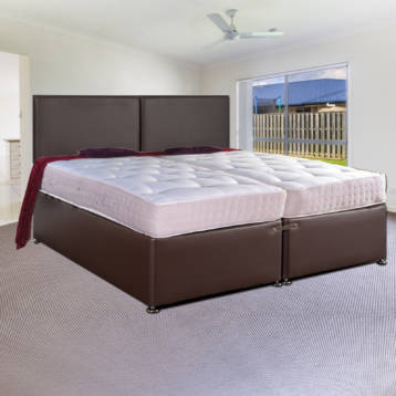 ZIP AND LINK LEATHER DIVAN BED SET ORTHO SPRING + HEADBOARD
