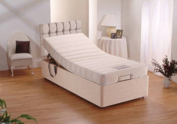 MEMORY ADJUSTABLE BED WITH CUBED TALL HEADBOARD