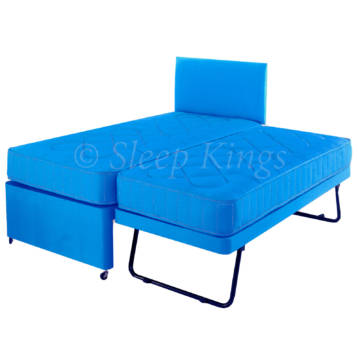 GUEST TRUNDLE BED 3 IN 1 WITH MATTRESSES HEADBOARD SKY BLUE