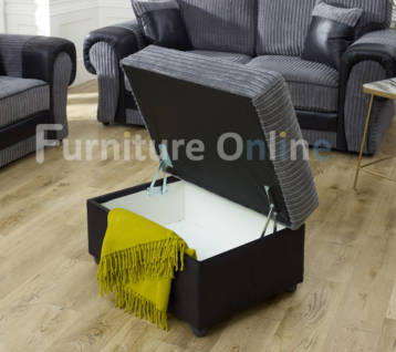 TANGO STORAGE FOOTSTOOL GREY/BLACK