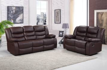 Roma Recliner Leather 3+2 Set Brown