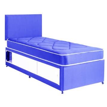 2FT6 OR 3FT KIDS SLIDE STORAGE DIVAN SET IN SKY BLUE