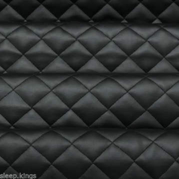 DIAMOND QUILTED BLACK FAUX LEATHER IN METERS