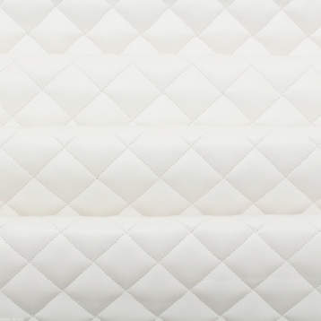 DIAMOND QUILTED WHITE FAUX LEATHER IN METERS