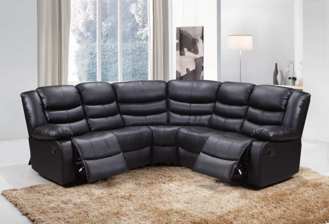 Picture of: Roma Recliner Double Corner Black Furniture Direct Online
