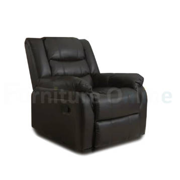 Roma Recliner Leather Armchair Black