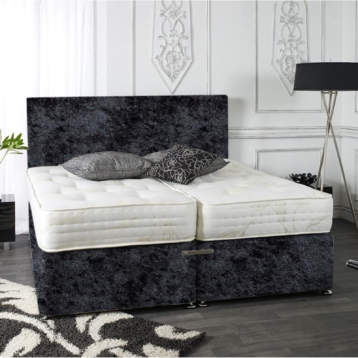 ZIP AND LINK DIVAN BED SET CRUSHED VELVET MEMORY WITH HEADBOARDS