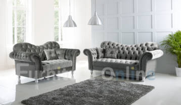 ITALIAN CHESTERFIELD ELEGANCE 3+2 SET GRAPHITE GREY