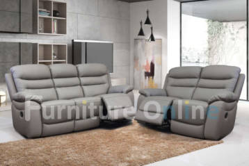 RECLINER LEATHER 3+2 SET GREY