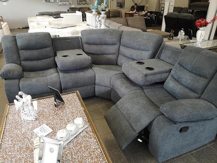 Soro Grey Fabric Double Corner, Fabric Living Room Sets With Recliner
