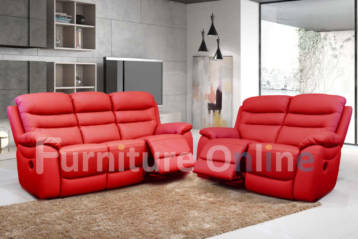 ROMA RECLINER LEATHER 3+2 SET RED