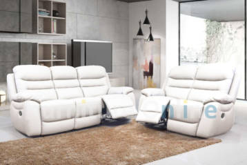RECLINER LEATHER 3+2 SET WHITE