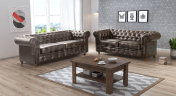CHESTERFIELD HABLO 3+2 SET BROWN LEATHER