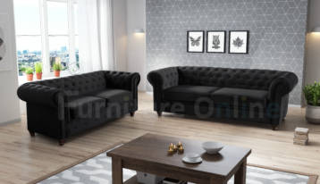 CHESTERFIELD HABLO 3+2 SET BLACK PLUSH VELVET