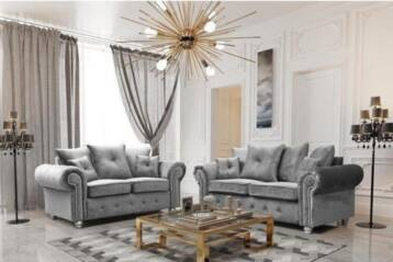 Madrid Plush Velvet 3+2 Seaters SOFA SILVER